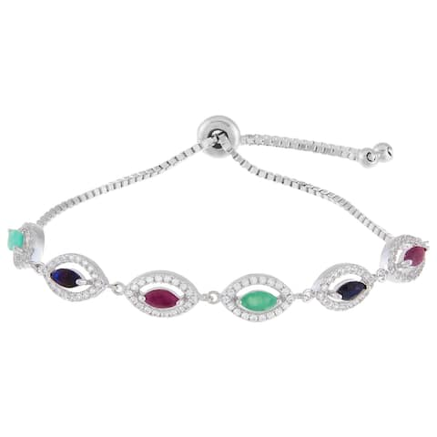 Marquise-Cut Ruby, Emerald & Sapphire Bolo Bracelet, Sterling Silver