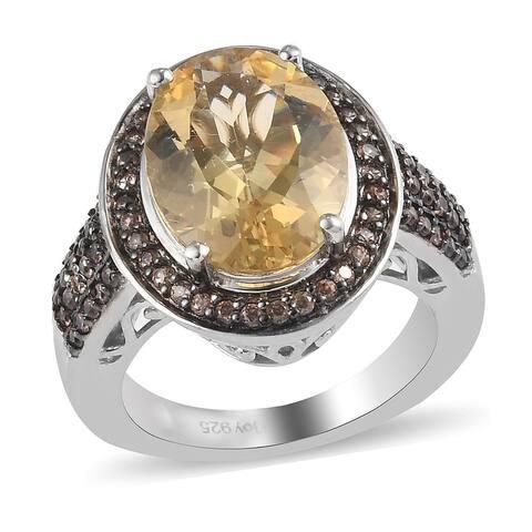 Shop LC 925 Silver Labradorite Brown Zircon Halo Ring Ct 13.4