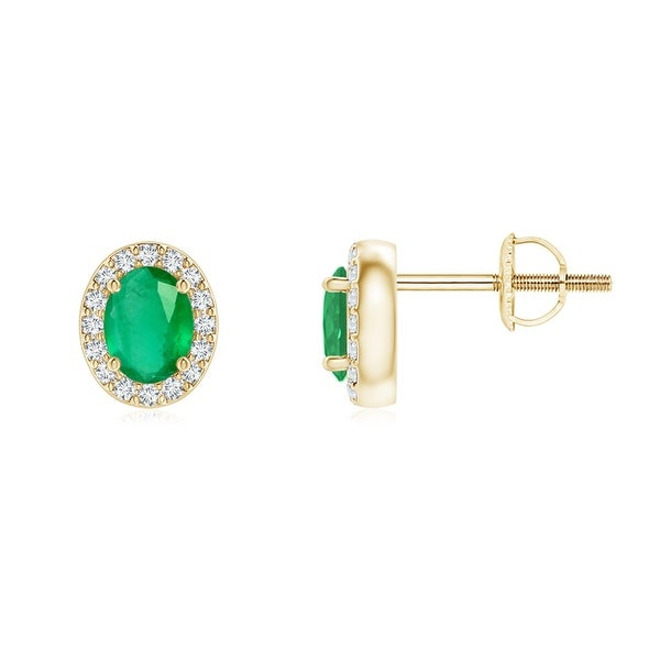 Angara Diamond Halo and Oval Peridot Stud Earrings in Yellow Gold