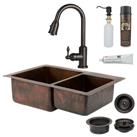 Premier Copper Products KSP2_K60DB33229 Kitchen Sink, Pull Down Faucet and Accessories Package