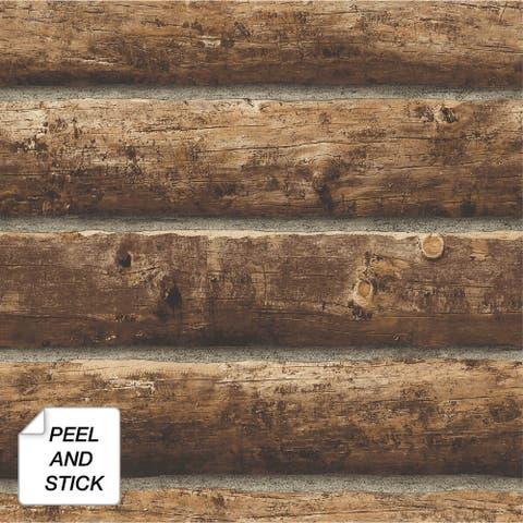NextWall Log Cabin Rustic Peel and Stick Removable Wallpaper - 20.5 in. W x 18 ft. L