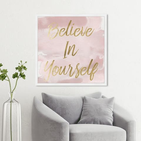 Oliver Gal 'Believe in Yourself Smokey' Typography and Quotes Wall Art Framed Print Inspirational Quotes, Sayings - Gold, Pink