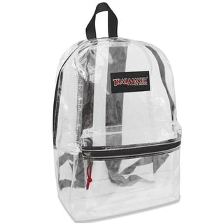 "Trailmaker Girls Black Padded Straps Classic Clear Backpack 15""x10.6""x5"""