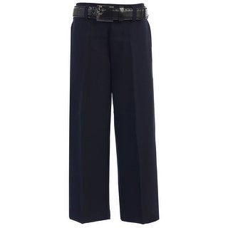 Boys Navy Flat Front Solid Belt Special Occasion Dress Pants 8-20