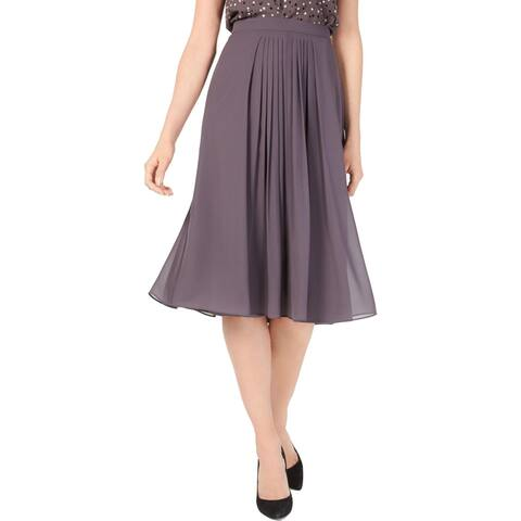 Anne Klein Womens Skirt Pleated A-Line - Nantucket Grey