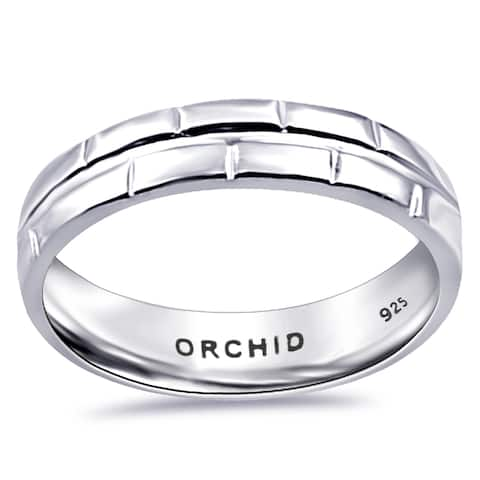 Stylish Sterling Silver Plain Fine Jewelry Band Ring By Orchid Jewelry