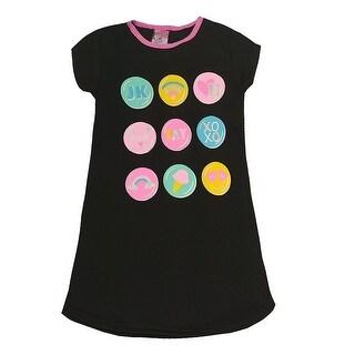 Sweet n Sassy Girls Black Pop-Up Emoji Print Short Sleeve Nightgown