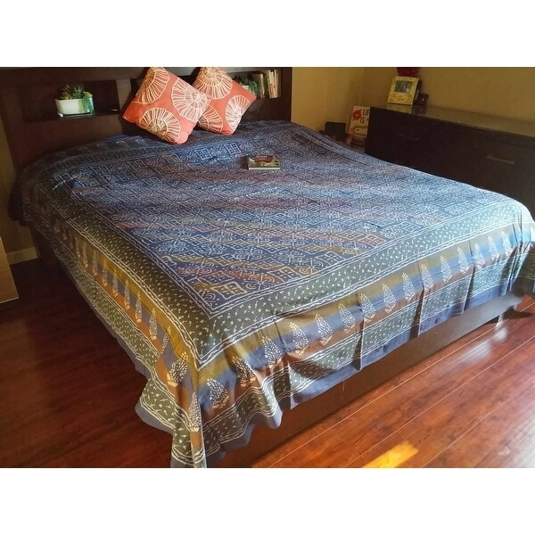 Handmade 100% Cotton Dabu Hand Block Print Tapestry Tablecloth Bedspread Coverlet Dorm Decor Beach Sheet Blue Twin