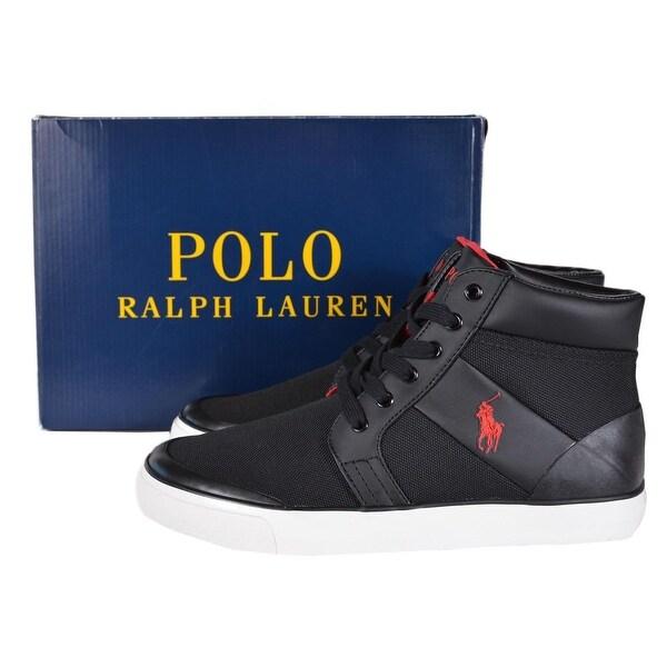 d26cd1198fb6 Polo Ralph Lauren Men's Isaak Black Mesh High Top Sneakers ...