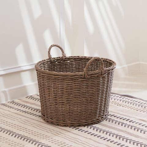 Mila 19-Inch Round Resin Storage and Organizing Basket with Handles- Size L