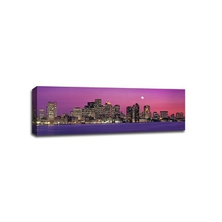 Boston - Pink Sky - Cityscapes - 36x12 Gallery Wrapped Canvas Wall Art