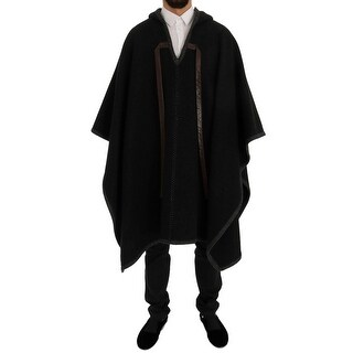 Dolce & Gabbana Dolce & Gabbana Gray Wool Cashmere Leather Hooded Poncho - it48-m