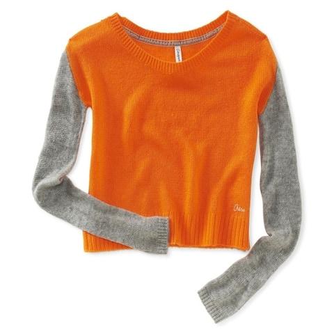 Aeropostale Womens Colorblocked Sleeve Crew Knit Sweater