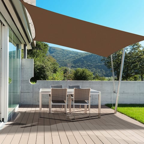 Outsunny 20' x 13' Rectangle Outdoor Patio Sun Shade Sail Canopy with D-Rings and Nylon Rope Included - Brown - 20' x 13'