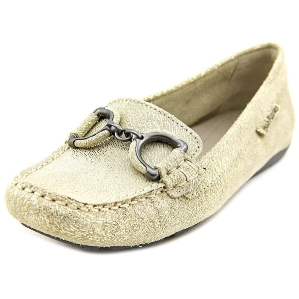Hush Puppies Cora Women Square Toe Leather Gold Loafer