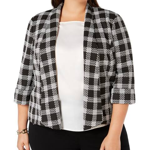 Kasper Women's Jacket White Black Size 14W Plus Plaid Open Front