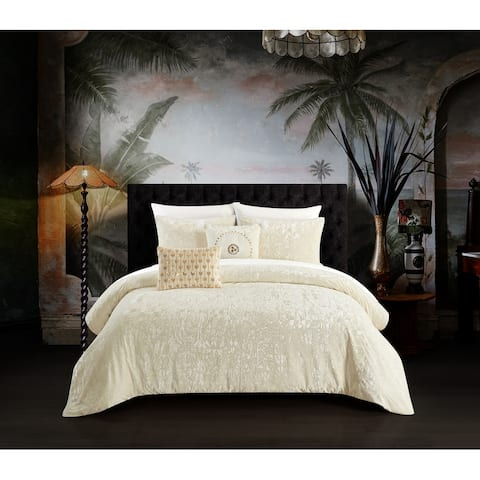 Chic Home Kiana 5 Piece Textured Crinkle Velvet Design Comforter Set, Beige