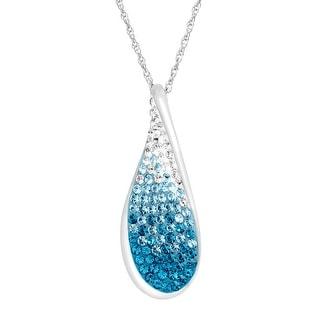 Crystaluxe Wave Pendant with Ombré Swarovski Crystals in Sterling Silver - Blue