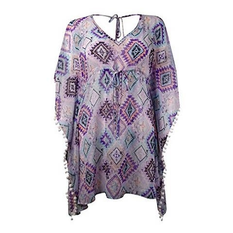 Miken Diamond Chiffon Kimono Cover-Up X-Small - Multi/Pink