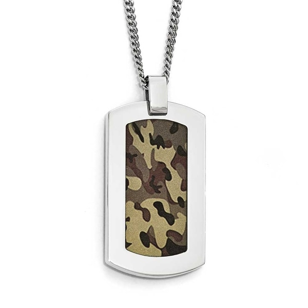 Chisel Stainless Steel Polished Printed Brown Camo Under Rubber Necklace - 22 in