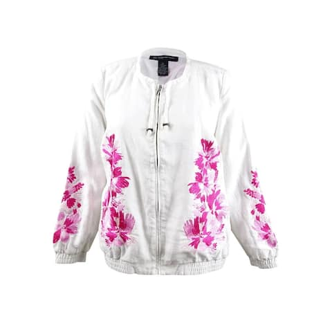 INC International Concepts Women's Plus Embroidered Jacket (1X, Bright White) - Bright White - 1X