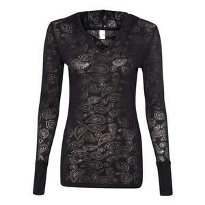 Women's Jersey Burnout Hooded Pullover T-Shirt - Black - M