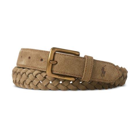 Ralph Lauren Mens Suede Braided Belt