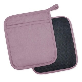 """Set of 2 Mauve and Black Heat Resistant Neoprene Potholders with Rubber Shell 8"""""""