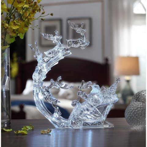 """Set of 2 Clear Reindeer Flight and Sleigh Decorative Christmas Ornament 13"""""""