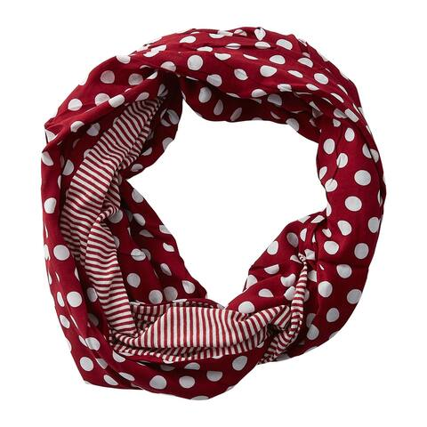 5.5' Crimson Red and White Fashion and Accessories Tickled Pink Dots and Stripes Infinity Scarf