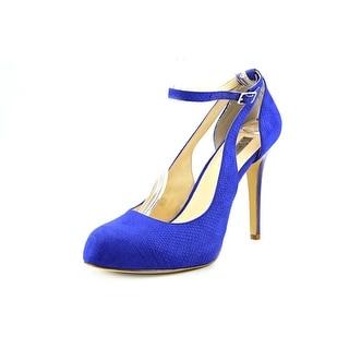 INC International Concepts Lucey Women Open Toe Canvas Blue Platform Heel