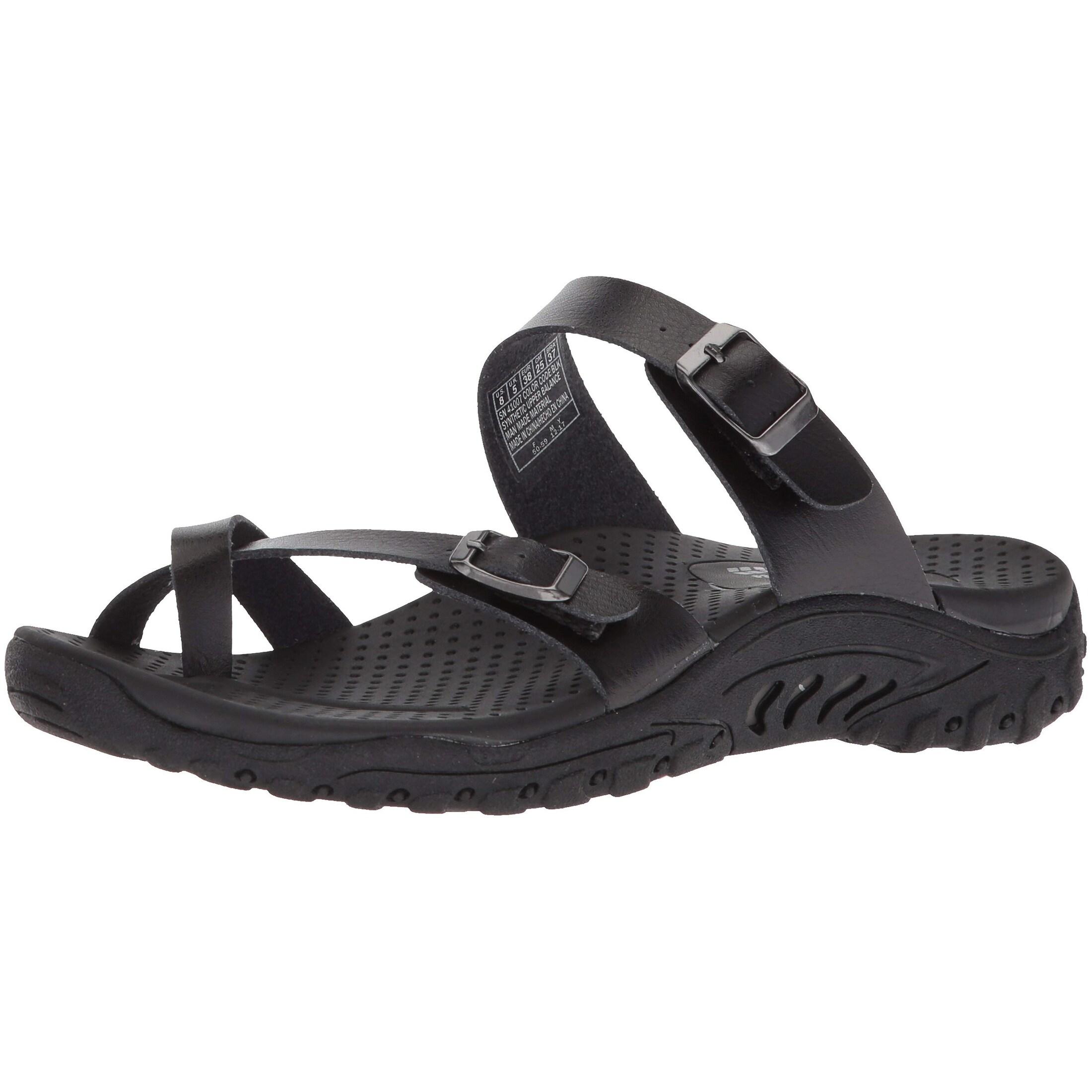 Skechers Women's Reggae Carribean Double Buckle Toe Thong Slide Sandal, Black