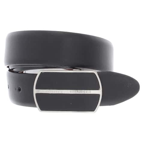 Tommy Hilfiger Mens Casual Belt Faux Leather Reversible - Black/Tan