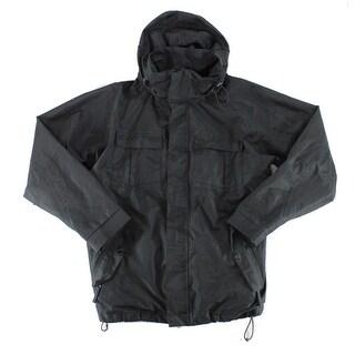 Pulse Black Mens Size XL Hooded Chest Pocket Windbreaker Jacket