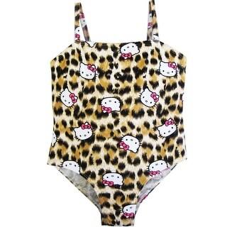 Hello Kitty Little Girls Brown Leopard Print One Piece Swimsuit 4-6X