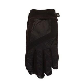 Isotoner Signature Men'S Black Mixed-Media Sleek Heat Smartdri Smartouch Gloves