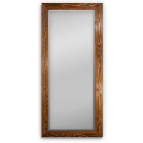 Barnwood Wood Full Length Mirror - Colonial Maple-62X27 - Colonial Maple Barnwood - 62X27