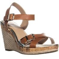 A35 Paytonn Wedge Ankle Strap Sandals, Saddle