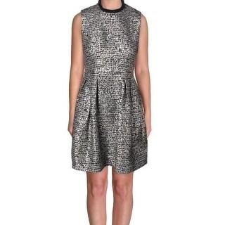 Badgley Mischka NEW Silver Womens Size 6 Tweed Metallic Sheath Dress
