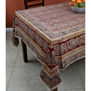 Vegetable Dye Hand Block Print Floral Cotton Round Tablecloth Rectangular, Square, Napkins