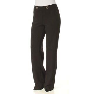 Womens Black Wear To Work Wide Leg Pants Size 4