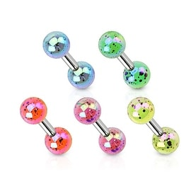 Aurora Borealis Coating Over Splash Acrylic Balls Surgical Steel Cartilage/Tragus Barbell (Sold Ind.)