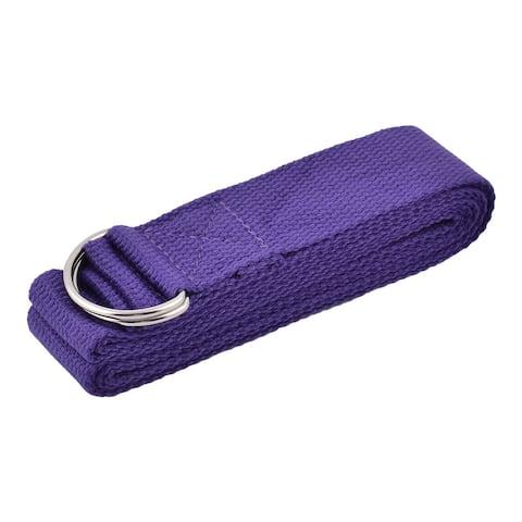 Cotton Blends D Shape Loop Stretching Yoga Strap Band Dark Purple 2.5M Length