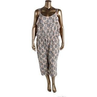 Ingo Womens Plus Printed Pull On Jumpsuit - 3X