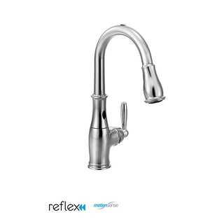 Moen 7185E Single Handle Touchless Pullout Spray Kitchen Faucet with Reflex and MotionSense Technologies from the Brantford
