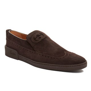 Gucci Men's Suede GG Brogue Slip-on Loafer Shoes Dark Brown