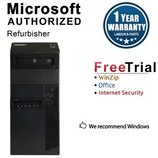 Lenovo ThinkCentre M81 Computer Tower Intel Core I3 2100 3.1G 8GB DDR3 2TB Windows 10 Pro 1 Year Warranty (Refurbished) - Black