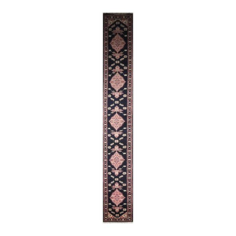 Hand Knotted Romanian Heriz Wool Traditional Oriental Rug (Runner) - 2' 6'' x 22'