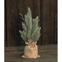 "Snowy Glitter Pine Tree in Gift Bag, 12"""