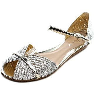 Delman Nifty Women Peep-Toe Leather Silver Flats
